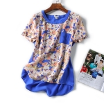 P2699 เสื้อแฟชั่น ผ้าเนื้อดี นิ่มพริ้ว ลายดอกไม้ สีน้ำเงิน