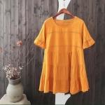 P19581 เสื้อตัวยาว ระบายชั้น ผ้าฝ้ายเนื้อดีปักลาย สีแดง เหลือง