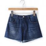 P0399 กางเกงขาสั้น ผ้ายีนส์เนื้อนิ่ม สีน้ำเงิน