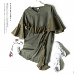 P00661 ชุดเดรสทรงปล่อย ผ้ายืดเนื้อนิ่ม สีเขียวขี้ม้า ต่อระบายผ้าฝ้าย กระเป๋าข้าง