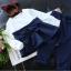 เสื้อแขนยาว ผ้าคาดเอว+กางเกง สีน้ำเงิน thumbnail 3