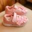 รองเท้าผ้าใบเด็ก สีชมพู แต่งดอกไม้ thumbnail 1