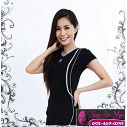 AC701-41 เสื้อโยคะแขนสั้น ผ้าสเปนเด็กซ์ สีดำ/เทา