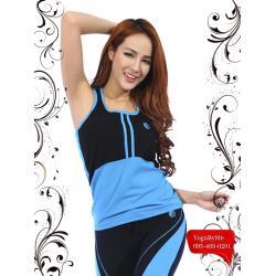 เสื้อกล้ามโยคะเต็มตัว AC703B สีฟ้า