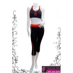 เสื้อกล้ามโยคะครึ่งตัว AC706-31 สีดำ/ส้ม