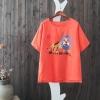 P27521 เสื้อแฟชั่น ผ้าฝ้ายผสมลินิน สกรีนลาย สีน้ำเงิน เหลือง ส้ม