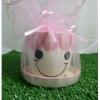 แก้วเพ้นท์หน้าตุ๊กตา สีชมพู พร้อมจานรอง แพ็คถุงผ้าแก้ว