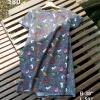 P9398 ชุดเดรสทรงเอชายบาน ซิบหลัง ผ้าเนื้อดีพิมพ์ลาย สีน้ำเงิน