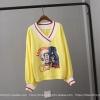 P8959 เสื้อแขนยาวคอวี ผ้ายืดเนื้อดี สกรีนลายการ์ตูน เอวจั๊ม