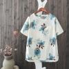 P05251 เสื้อแฟชั่น ผ้าฝ้ายเนื้อดี พิมพ์ลายดอกไม้ สีน้ำเงิน แต่งกระเป๋า