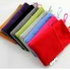 ถุงผ้ากำมะหยี่ 2 ช่อง ใส่มือถือหรือแบตสำรอง ขนาด 5.0 นิ้ว 10*16 ซม. (สีแดง)