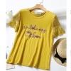 P2371 เสื้อแฟชั่น ผ้ายืดเนื้อนิ่ม แขนลูกไม้ สีเหลืองมัสตาร์ด ปักอักษร