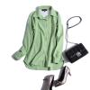 P0449 เสื้อเชิ้ตแขนยาวกระดุมหน้า ผ้าฝ้ายเนื้อดี สีเขียว หลังต่อลูกไม้