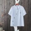 P26551 เสื้อแฟชั่นคอวี ผ้าฝ้ายเนื้อดีลายริ้ว สีฟ้าอ่อน ปักดอกไม้