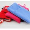 ถุงผ้ากำมะหยี่ 2 ช่อง ใส่มือถือหรือแบตสำรอง ขนาด 5.0 นิ้ว 10*16 ซม. (สีฟ้า)