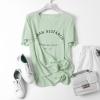 P2109 เสื้อแฟชั่น หน้าสั้นหลังยาว ผ้าเนื้อนิ่มพิมพ์ลายอักษร สีเขียว ขาว