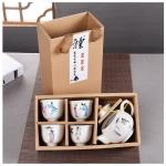 ชุดกาน้ำชา พร้อมถ้วย 4 ใบ สีขาวลายจีน กล่องคร๊าฟ