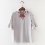 P1409 เสื้อแฟชั่นคอปก ผ้าเนื้อดีนิ่มพริ้ว ผูกโบว์ สีชมพู เทา เขียว ปกปักดอกไม้