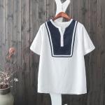 P01631 เสื้อแฟชั่น ผ้าฝ้ายเนื้อดี สีขาว กระดุมบน