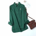 P22211 เสื้อคอปกแขนยาว ผ้าฝ้ายเนื้อดีกระดุมบน ปักร่ม สีเขียว ส้ม เขียวขี้ม้า