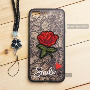 เคส iPhone 7 Plus / 8 Plus เคสอะครีลิค ขอบยางสีดำ ลายดอกกุหลาบ (พร้อมสายคล้องโทรศัพท์) พื้นหลังสีดำ