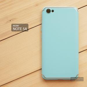 เคส Xiaomi Redmi Note 5A เคสแข็งสีเรียบ คลุมขอบ 4 ด้าน สีฟ้า (แถบสีเงิน บน-ล่าง)