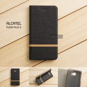 เคส Alcatel Onetouch Flash Plus 2 เคสฝาพับหนัง PVC มีช่องใส่บัตร สีดำ