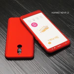 เคส Huawei Nova 2i เคสแข็งด้านหน้า - ด้านหลัง ครอบคลุม 360 องศา (พร้อมกระจกกันรอย) สีแดง