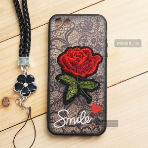 เคส iPhone 5 / 5s เคสอะครีลิค ขอบยางสีดำ ลายดอกกุหลาบ (พร้อมสายคล้องโทรศัพท์) พื้นหลังสีดำ