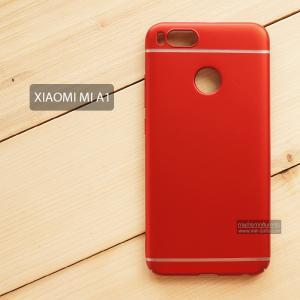 เคส Xiaomi Mi A1 เคสแข็งสีเรียบ คลุมขอบ 4 ด้าน สีแดง (แถบสีเงิน บน-ล่าง)