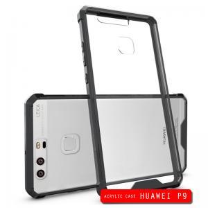 เคส Huawei P9 เคส Hybrid ฝาหลังอะคริลิคใส ขอบยางกันกระแทก สีดำ