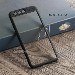 เคส Huawei P10 Plus เคส Hybrid ฝาหลังอะคริลิคใส ขอบยางกันกระแทก แบบที่ 2 (ขอบนูนรอบกล้อง) สีดำ