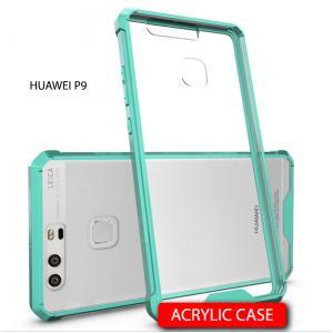 เคส Huawei P9 เคส Hybrid ฝาหลังอะคริลิคใส ขอบยางกันกระแทก สีเขียว
