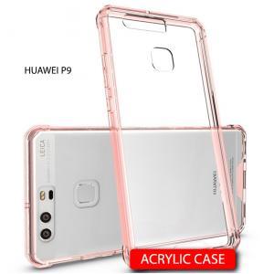 เคส Huawei P9 เคส Hybrid ฝาหลังอะคริลิคใส ขอบยางกันกระแทก สี Old rose