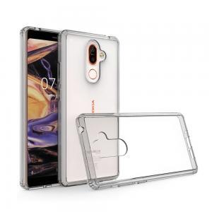 เคส Nokia 7 Plus เคส Hybrid ฝาหลังอะคริลิคใส ขอบยางกันกระแทก สีดำใส