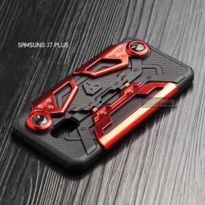 เคส Samsung J7 Plus เคสนิ่ม Hybrid (GAMER CASE) พร้อมขาตั้ง + ที่จับสำหรับเล่นเกม (สีแดง)