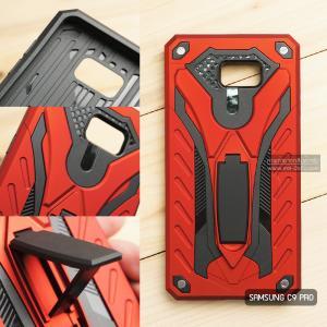 เคส Samsung Galaxy C9 Pro เคสบั๊มเปอร์ กันกระแทก Defender 2 ชั้น (พร้อมขาตั้ง) สีแดง (แบบที่ 2)