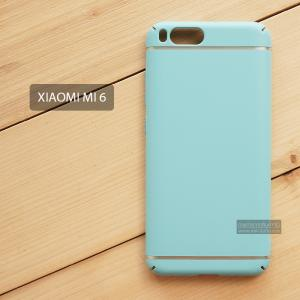 เคส Xiaomi Mi 6 เคสแข็งสีเรียบ คลุมขอบ 4 ด้าน สีฟ้า (แถบสีเงิน บน-ล่าง)