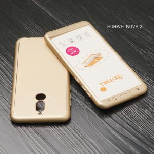 เคส Huawei Nova 2i เคสแข็งด้านหน้า - ด้านหลัง ครอบคลุม 360 องศา (พร้อมกระจกกันรอย) สีทอง