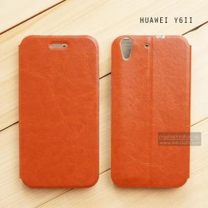 เคส Huawei Y6ii เคสหนัง + แผ่นเหล็กป้องกันตัวเครื่อง (บางพิเศษ) สีน้ำตาล