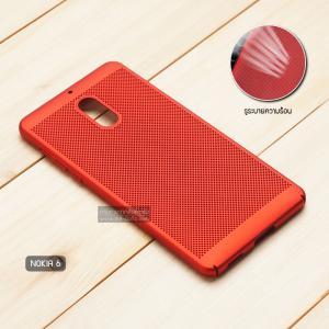 เคส Nokia 6 เคสแข็งสีเรียบ (รูระบายอากาศที่เคส) สีแดง