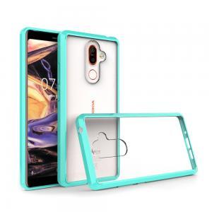 เคส Nokia 7 Plus เคส Hybrid ฝาหลังอะคริลิคใส ขอบยางกันกระแทก สีเขียว อมฟ้า