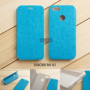 เคส Xiaomi Mi A1 เคสฝาพับบางพิเศษ พร้อมแผ่นเหล็กป้องกันของมีคม พับเป็นขาตั้งได้ สีฟ้า