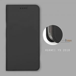 เคส Huawei Y9 (2018) เคสฝาพับเกรดพรีเมี่ยม เย็บขอบ พับเป็นขาตั้งได้ สีดำ