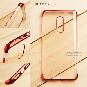 เคส Xiaomi Redmi Note 4 เคสนิ่ม SLIM TPU สีใส ขอบเงา ( สีแดง )