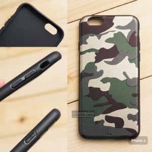 เคส iPhone 6 เคสนิ่ม TPU ลายทหาร (ขอบดำ) สีเขียว