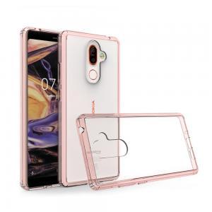 เคส Nokia 7 Plus เคส Hybrid ฝาหลังอะคริลิคใส ขอบยางกันกระแทก สีโอรส