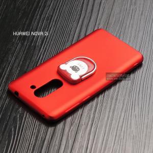 เคส Huawei GR5 (2017) เคสนิ่ม TPU สีเรียบ พร้อมแหวนมือถือรูปหมี (BEAR) สีแดง
