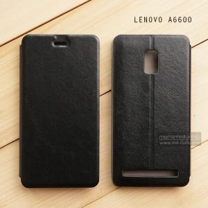 เคส Lenovo A6600 / A6600 PLUS เคสหนัง + แผ่นเหล็กป้องกันตัวเครื่อง (บางพิเศษ) สีดำ