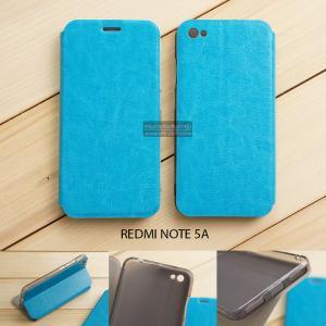 เคส Xiaomi Redmi Note 5A เคสฝาพับบางพิเศษ พร้อมแผ่นเหล็กป้องกันของมีคม พับเป็นขาตั้งได้ สีฟ้า